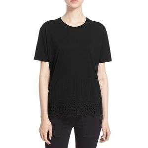 The Kooples Eyelet Short Sleeve Scallop Hem Tee